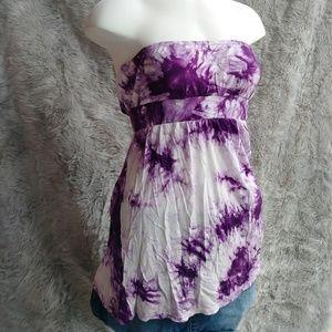 Purple Tie Dye Strapless Tank